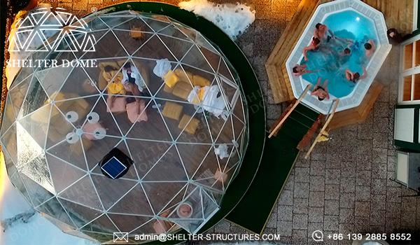 7m transparent igloo marquee for sale - geodesic greenhouse dome serves as hot spring lounge room, reception hall (1)