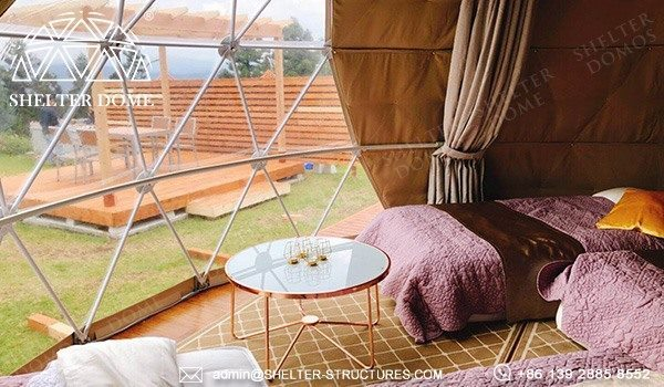 6m dome cabin with custom pvc fabric sale for glamping resort in Japan - spherical tent for 2 - 4 people accommodation (16)