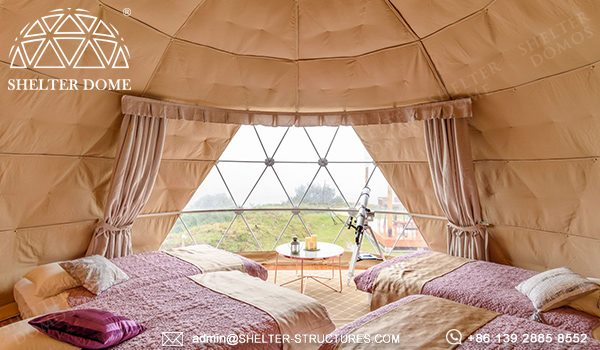 6m dome cabin with custom pvc fabric sale for glamping resort in Japan - spherical tent for 2 - 4 people accommodation (17)