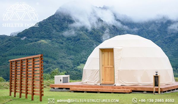 6m dome cabin with custom pvc fabric sale for glamping resort in Japan - spherical tent for 2 - 4 people accommodation (3)