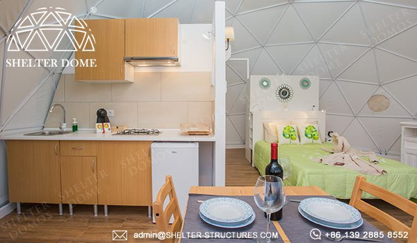 7m geodesic dome house for outdoor glamping - eco living dome with kitchen bathroom living room bed room facilities - 2 people geodome tent house for sale (13)