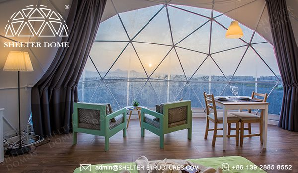 7m geodesic dome house for outdoor glamping - eco living dome with kitchen bathroom living room bed room facilities - 2 people geodome tent house for sale (22)