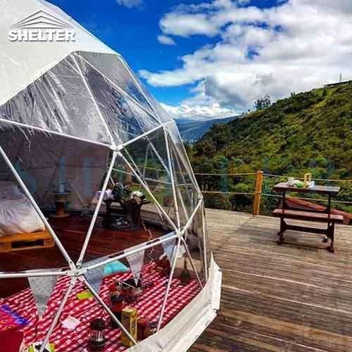Glamping Geodesic Dome Tent: Overlooking Colombian Mountain