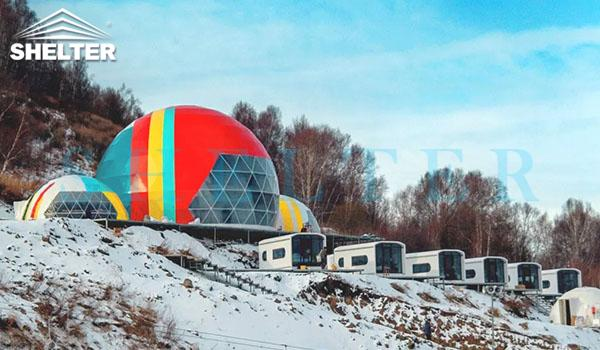 Projection dome-Chongli-projection dome theater-event dome-adjoined dome tent-connecting dome-15m-8m-shelter dome-shelter domos